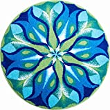 Grund Badteppich 100% Polyacryl, ultra soft, rutschfest, ÖKO-TEХ-zertifiziert, 5 Jahre Garantie, STILLES LICHT, Badematte 80 cm rund, blau grün