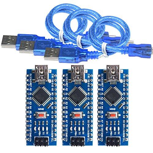 diymore Nano I/O espansione sensore scudo modulo per Arduino Uno r3 Nano V3.0 blu 3PCS Nano V3.0 Module Welded