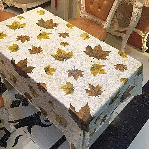 ZCXCC Tischdecke Verwelkte Gelbe Blätter Herbstsaison Muster Kunststoff Tischdecke Wischen Sie Sauber Wachstuch Vinyl Tischdecken,137 * 250CM