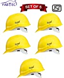 Fabtec Safety Helmet Hard Hat Head Protection Outdoor Work Head Safety Helmet with ISI Mark (Set of 5) (Yellow)