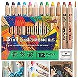 colozoo Gecko - Juego de 12 lápices de madera 3 en 1, incluye pincel y sacapuntas, 12 lápices de colores gruesos, lápices de acuarela y ceras en 1 producto para pintar en cualquier superficie