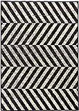 Moderner Designer Teppich Lifestyle 30 black geometrisches Zebramuster Kurzflor schwarz creme grau pflegeleicht (150 x 210 cm)