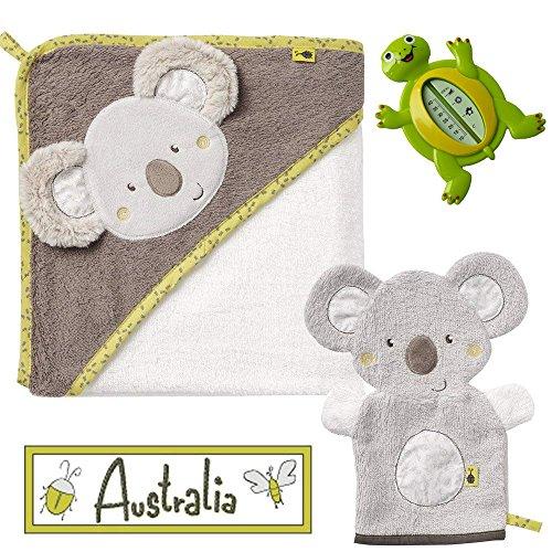 Baby Fehn Spar-Set Badeset // Kapuzenbadetuch Koala Bade-Poncho aus Baumwolle & Waschhandschuh Koala Australia Collection Lebhafte Farben und Materialien // Gratis REER Badethermometer