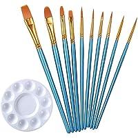 10 pcs Pinceaux Peinture, Pinceaux Peinture Acrylique Nylon Pinceaux Artiste Plume Lisse Pinceaux de Peinture à l'huile…