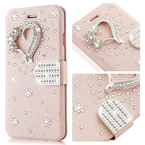 L-FADNUT for iPhone 5S/SE/5 Fall, Bling Schmuck Kristall Strass Flip PU Ledertasche, 3D Love [Magnetische Diamant-Schnalle] mit Ständer Wallet Card Holder für iPhone 5S/SE/5 -Roségold (Lifeproof Case 5s Iphone Bling)