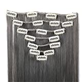 24 Silky Straight Full Head Clip In Synthetic Hair Extensions 130G 7 Pieces/ set Dark grey by becret