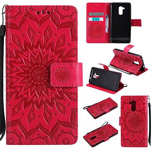 Lomogo Huawei GT3 Hülle Leder Blumenprägung, Schutzhülle Brieftasche mit Kartenfach Klappbar Magnetverschluss Stoßfest Kratzfest Handyhülle Case für Huawei GT3 / Honor 5C - KATU22608 Rot