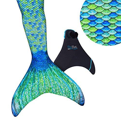 Fin Fun Mermaid Tail verstärkte Tipps, mit Monoflosse, Aussie Green, Größe Kind ()