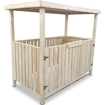 Unbekannt Mülltonnenbox Holzunterstand Mülltonnenhäuschen Tripple New, Holz, L211 x B97 x H182 cm
