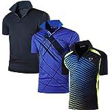 Sportides Men's 3 Packs Dry Fit Sport Polo Tee Shirt Poloshirts Tshirt T-Shirt Tops Short Sleeve Tennis Golf Bowling LSL195