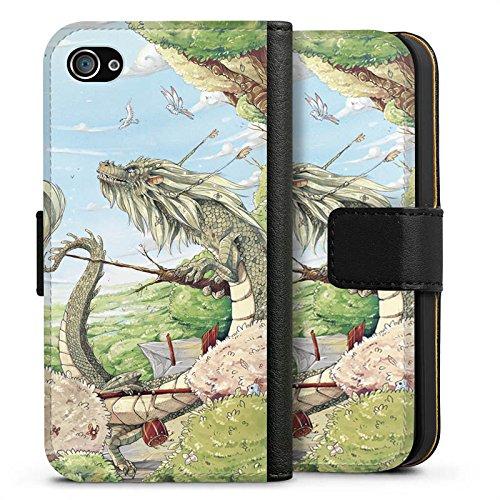 Apple iPhone X Silikon Hülle Case Schutzhülle Drache Fantasie Vögel Sideflip Tasche schwarz