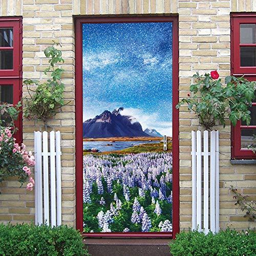 Türaufkleber Lavendel Blue Sky Star Home Decor Vinyltür Wandbild Peel Und Aufkleber Holztür Renovierung Tapeten Decals 77x200cm - Sky Home Decor