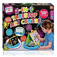 2 in 1 Tabletop Art Centre, Whiteboard Blackboard, Draw and Colour Kids Children