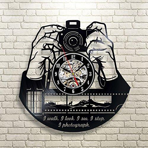 Reloj de pared de vinilo regalo de Navidad para fotógrafos