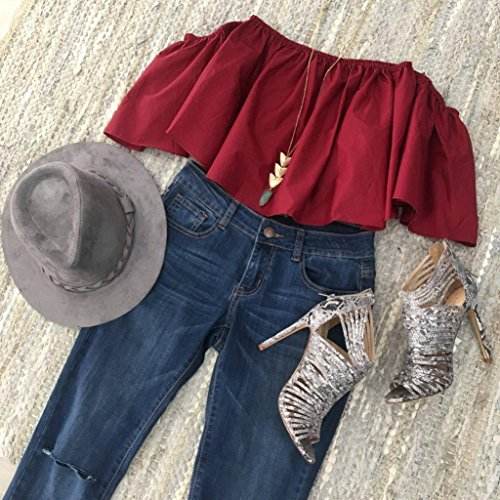 T-shirt femme,Tonwalk Femmes Summer Off Shoulder Tops Blouse T Shirt décontractée Rouge