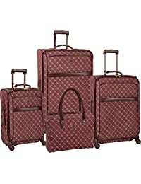 "Travel Gear Signature 4 Piece Expandable Spinner Luggage Set (28""/24""/20""/26""), Burgundy/White"