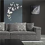 Demiawaking 14Pcs Schöne Abnehmbare 3D Schmetterling Aufkleber aus Acryl Spiegel Wandaufkleber fuer Esszimmer ,TV-Hintergrund, Wohnzimmer, Haus Dekor Silber (7)