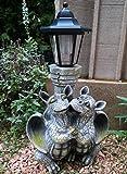 Drachenkind verliebt mit Solar Laterne Drache Figur Gartenfigur Liebe