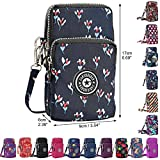 Wocharm Ladies Girls Nylon Design Small Crossbody Shoulder Bag Wristlet Handbags (Navy Flowers)