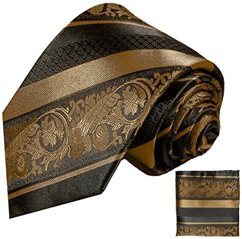 Cravate homme marron rayé noir ensemble de cravate 2 Pièces (longueur 165cm)