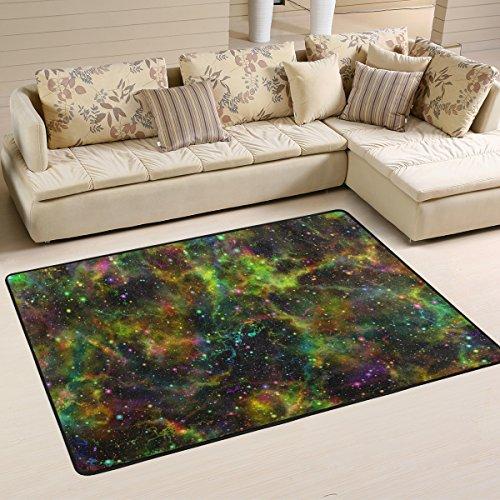 Naanle Universe Nebula Nuit Ciel étoilé antidérapant Zone Tapis pour salon salle de salle à manger Chambre à coucher de cuisine, 50 x 80 cm (1.7 'x 2.6' ft), Abstrait coloré Chambre d'enfant Tapis de sol Tapis Tapis de yoga, multicolore, 60 x 90 cm(2' x 3')