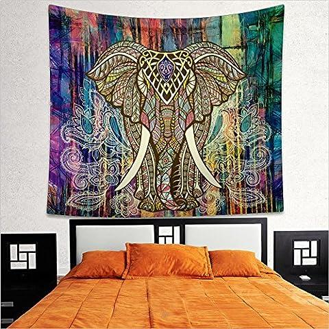 Boho de perro elefante árbol de la vida Floral tapiz Mandala Hippy gitana colgar en la pared hoja Coverlet Picnic manta colcha cortina decoración mesa sofá Cover playa Yoga manta, F, large