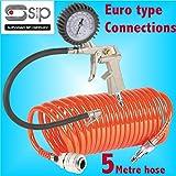 """Inflador de neumáticos + manguera de aire en espiral de 5 metros con sistema de liberación rápida tipo""""Euro"""" Accesorios ligeros de nailon para compresor de línea de aire"""