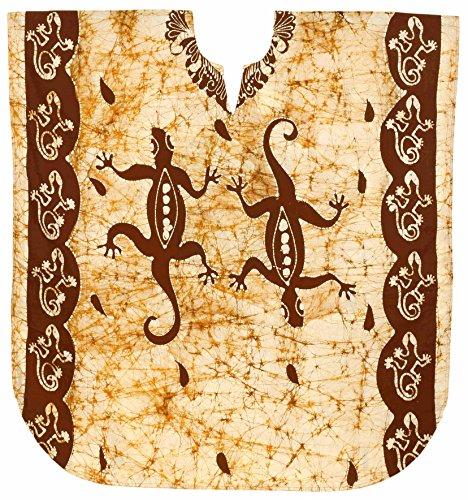 Tragen Sie Kaftan (LA LEELA Frauen Damen Baumwolle Kaftan Tunika Batik Kimono freie Größe kurz Midi Party Kleid für Loungewear Urlaub Nachtwäsche Strand jeden Tag Kleider Braun_X543)