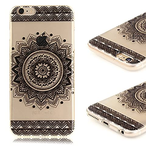 Coque iPhone 6 Plus ,iPhone 6S Plus Etui TPU , CaseLover Mandala Noire Motif Mode Etui Coque TPU Slim pour Apple iPhone 6 Plus / 6S Plus Mode Flexible Souple Soft Case Couverture Housse Protection Anti rayures Mince Transparent Silicone Cover - Black Mandala