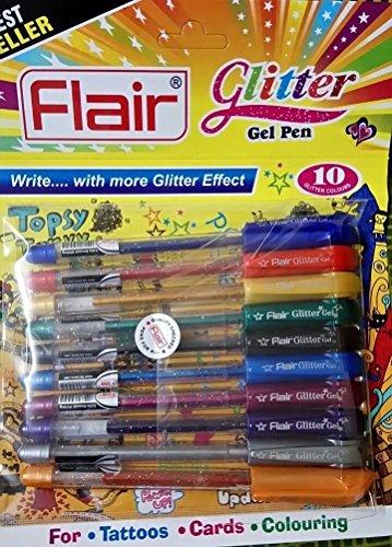 Xtra Sparkle Glitter Gel-Color-Xtra Glanz Gel-Stift-Stil (2Stück = 20Stifte) * Versand aus Großbritannien *