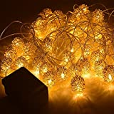 Zetong 40er LED Lichterkette Metall Ball String Licht Sternenlicht für Garten, Haushalt, Hochzeit, Weihnachtsfeier, 4 Modi mit EU Stecker Gold