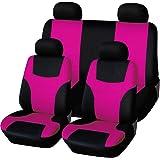 Winomo 8 Stücke Autositzbezüge Set Universal Fluoreszierendes Rosa Auto