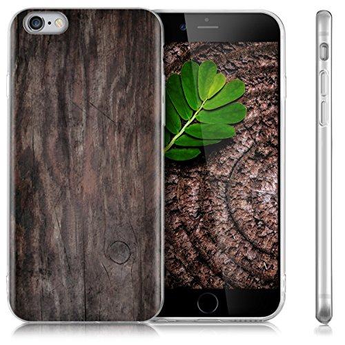 kwmobile Hülle für Apple iPhone 6 / 6S - TPU Silikon Backcover Case Handy Schutzhülle - Cover Rot matt Vintage Holz IMD Dunkelbraun