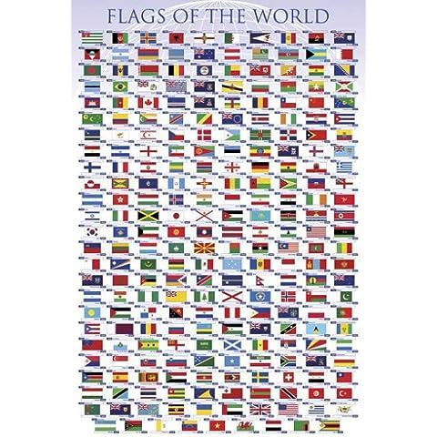 Empire Merchandising - Poster educativo: Le bandiere del mondo, con accessori per il montaggio (in lingua inglese) Avec 2 baguettes