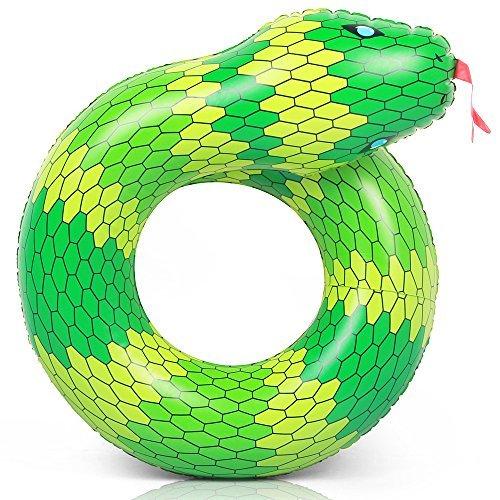 Coogam 40 '' 3D Snake Swim Ring aufblasbarer Pool Float Farbe Gummi Open-Loop Schlauch Wasser Donut Flöße Schaum Innertube Spielzeug für Erwachsene Kinder Sommer Outdoor Beach Party Spielen Dekoration