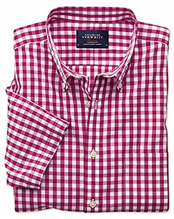Classic fit non iron poplin short sleeve raspberry gingham for Charles tyrwhitt shirts review