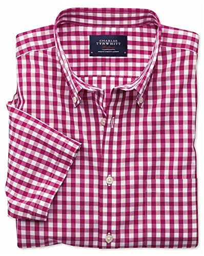 Bügelfreies Slim Fit Kurzarmhemd aus Popeline in rot mit Karos rot (Knopfmanschetten Cuff)