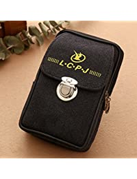 Buyworld Men Fanny Pack Mobile Phone Bags Brown Black Zipper Coin Purse Burse Good Quality Bag Canvas Cover Waist...
