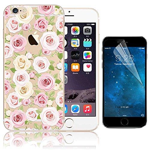Case per iPhone 6S,Cover per iPhone 6 ,Bonice Ultra Slim Diamante Bling Glitter Lusso Specchio Cristallo Strass Morbida Rubber Bumper 360 Gradi [Rotazione Grip Ring Kickstand] con Supporto Dellanello Custodia 01