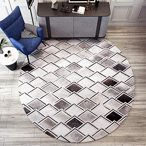 Kunstleder runden Teppich, moderne Geometrie weichen, rutschfesten Teppich Home Decor Runner Bereich Teppich Bodenmatte für Wohnzimmer Sofa Studie Balkon Schlafzimmer ( Color : A , Size : 80cm ) (8 Ft Runde Bereich Teppich)