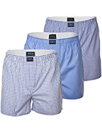POLO RALPH LAUREN Short Homme 3 Pack, Web Boxers, Boxer Ouvert - Bleu / Blanc