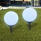 Anself Lámpara Solar de Jardín en Forma de Bola con LED, 30 cm, 2 unidades