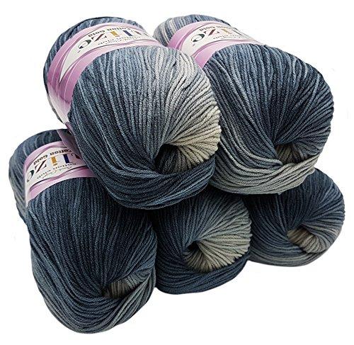 Alize Cotton gold 5 x 100g Strickwolle 55{75970cd8f29282bb36421c9f07c43ba6973665ef49228ac287ceb436d73d0c9e} Baumwolle, 500 Gramm Wolle mit Farbverlauf Mehrfarbig (Schwarz Grau Weiß 2905)
