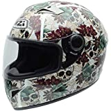 NZI 050264G684 Vital Graphics Crossbones Casco De Moto, Color Beige / Verde Granate, Talla 54 (XS)