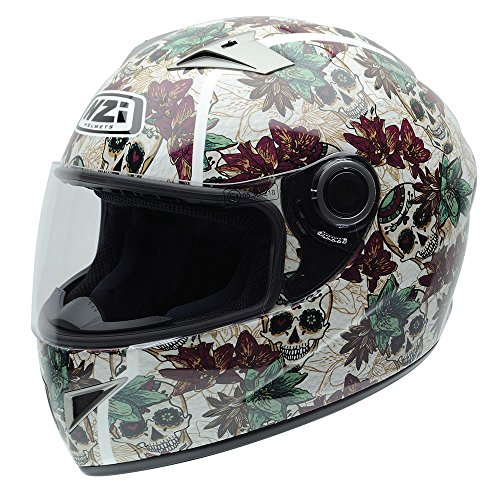 NZI 050264G684 Vital Graphics Crossbones Casco De Moto, Color Beige / Verde Granate, Talla 58-59 (L)