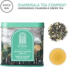 Himalayan Lemongrass Chamomile Green Tea, Pure Whole Tea Leaves with Lemongrass and Chamomile, 100g, USDA Organic Certified, Freshly Packed at Our Plantations in Dharmsala