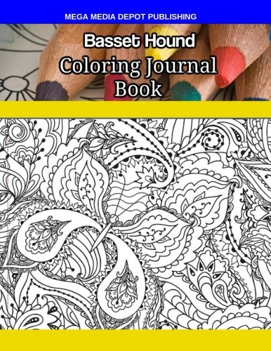 Basset Hound Coloring Journal Book por Mega Media Depot