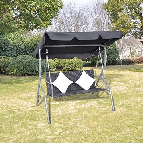 Anself Rattan Hollywoodschaukel Gartenschaukel 2-Sitzer mit Sonnendach und Kissen Schwarz - 2