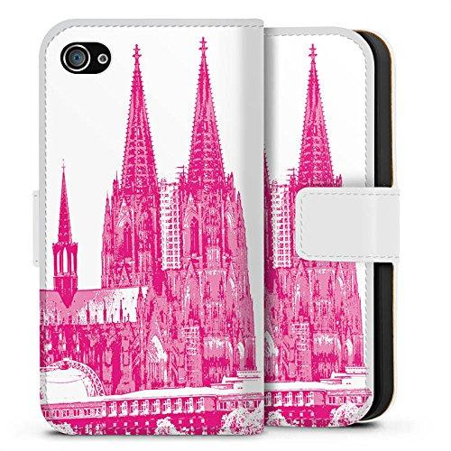 Apple iPhone X Silikon Hülle Case Schutzhülle Köln Dom Kirche Kölner Dom Sideflip Tasche weiß
