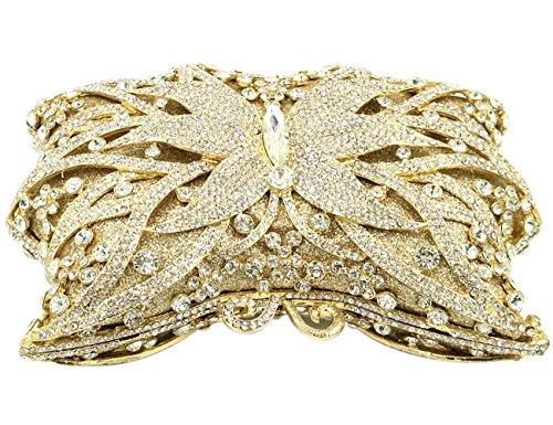 Pochette Donna Sera Borsetta Portafoglio Partito Cerimonia Borsa Sposa Spalla Frizioni Eleganti Farfalla Oro Gold